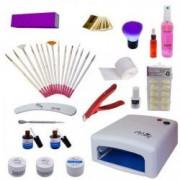 Kit cu lampa UV geluri pentru manichiura french si accesorii + CADOU casti bluetooth