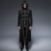 Punk Rave Gothic Infinite Class Embroidered High Collar Long Coat Black Y-651
