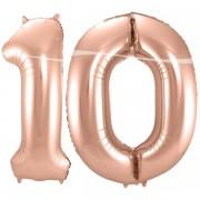 10-es szám, rosegold, fólia lufi