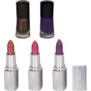 Viviana Lipstick & Nail Paint Kit(Pack of 5)