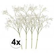 Bellatio flowers & plants 4x Witte gipskruid kunstbloemen 65 cm