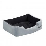 [en.casa] Cama para mascotas - cama para perros - con cojín reversible - tejido Oxford / Algodón-PP - 50 x 38 x 17 cm [S] - Gris / Negro