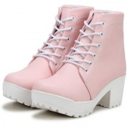Ethics Premium Faux Leather Pink High Ankle Casual Stylish Boot For Women's (36 EU)