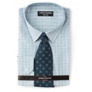 Huntley Green Check Shirt And Tie - green 39-40