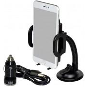 Incarcator Auto+Suport cu incarcare wireless Vakoss TP-3508KB, 2,1A, 4,5-5,2V (Negru)