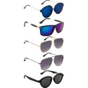 NuVew Rectangular, Round, Retro Square Sunglasses(Blue, Grey, Green, Grey, Blue)