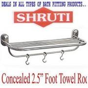 SHRUTI (Nikku) Heavy Duty Stainless Steel Bathroom Concealed Towel Rod / Towel Stand / Towel Holder / Towel Rack for routine use of Bathroom Accessories - 2.5Foot Long (1615)