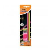 Creion flexibil HB fara radiera Bic Evolution Fluo 2/set+radiera+ascutitoare