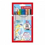 Stabilo Pen 68 Brush Etui 12 Kleuren