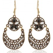 Sanaa Creations Black and Gold Alloy Dangle Drop Earrings New Year Special offer for Women Girls