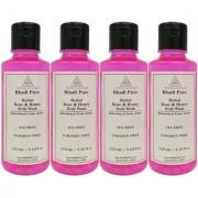 Khadi Pure Herbal Rose Honey Body Wash Paraben Free - 210ml (Set of 4)