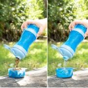 Sticla cu rezervor de apa si adapator de mancare pentru animale de companie