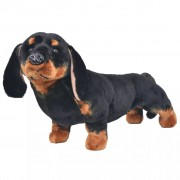 vidaXL Standing Plush Toy Dachshund Dog Black XXL