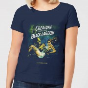 Universal Monsters Creature From The Black Lagoon Vintage Poster Dames T-shirt - Navy - XXL - Navy blauw