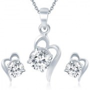 Sukkhi Splendid Rhodium Plated Solitaire CZ Pendant Set