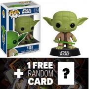 Yoda: Funko Pop! X Star Wars Vinyl Bobble Head Figure W/ Stand + 1 Free Official Star Wars Trading Card Bundle [23229]