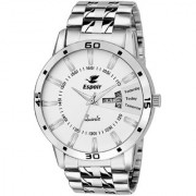 Espoir Round Dail Silver Stainless Steel StrapMens Quartz Watch For Men