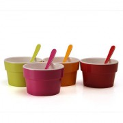 Superware(Ektra) Funky Four Bowls With Spoon- 300 ml bowl - set of 8