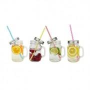 Set de 4 Mugs en verre avec couvercle et paille Ard'Time