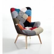 Fotoliu tapitat cu stofa, cu picioare din lemn Kaleidos-D Multicolor, l70xA78xH96 cm