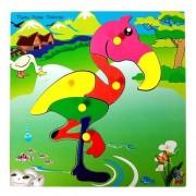 Skillofun Wooden Theme Puzzle Standard Flamingo Knobs, Multi Color