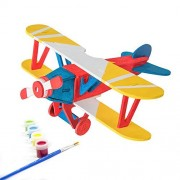 Miscy 3d Puzzle Arts Projects Craft Wood Airplanes 3d Puzzles for Kids Ages 6-8 &up Assemble Paint DIY Animal Crafts Biplane