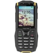 "Telefon Mobil Kruger&Matz Iron 2, Ecran QVGA 2.4"", 32MB RAM, 32MB Flash, 0.3MP, 2G, Dual Sim (Negru/Galben) + Cartela SIM Orange PrePay, 6 euro credit, 6 GB internet 4G, 2,000 minute nationale si internationale fix sau SMS nationale din care 300 minute/SM"