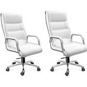 EARTHWOOD Leatherette Office Chair ( Color - Maroon Maroon Set of 2)