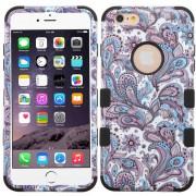 Funda Case para Iphone 6s / Iphone 6 Doble Protector de Uso Rudo-Flores Moradas