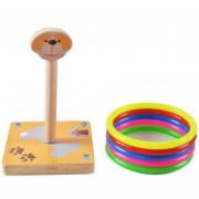Kindergarten Niños Perro Animal Madera Throwing Ring Toss Juegos Actividades Juguetes, Tamaño: 9 * 9 * 14.7cm