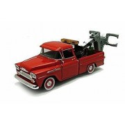 1958 Chevy Apache Fleetside Pickup Tow Truck, Red - Motor Max 75343AC - 1/24 Scale Diecast Model Toy Car