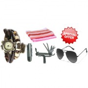 Combo of Brown Vintage Watch For Women Knife 2 Hand Towels And Glasses