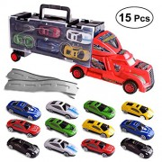 Toyvian 15pcs Toy Truck Transport car Carrier Toy Transporter Vehicle Model Kids Toy (Random Color)