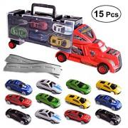 Toyvian 15pcs Toy Truck Transport car Carrier Toy Transporter Vehicle Model Kids Toy (Random Color)