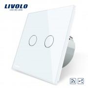 Intrerupator dublu cap scara / cap cruce wireless Livolo din sticla, alb