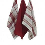 3 Torchons en coton à motifs rouges 65 x 45 cm