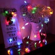 Karácsonyi elemes csillag fényfüzér 2 m – Hideg fehér