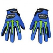 Monster Logo Biker Riding Gloves (Blue)
