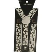 Mr. Zunk Y- Back Suspenders for Men(White)