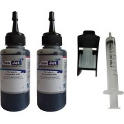 Flowjet 2 BOTTLES WITH SYRINGE FOR REFILLING OF HP CANON BROTHER INK CARTRIDGES Single Color Ink (Black)