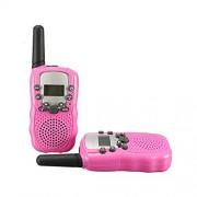 Zulux Set of 2 Piece 22 Channel Twin Walkie-Talkie 2-Way Radio 3 Km Range - Children's Two Way Radios for Children Gift (Pink)