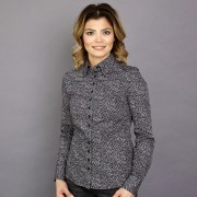 Női fekete ing Willsoor finom mintázatú mértani 8838