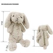 Mr. Bear & His Friends Cute Bunny Plush Animals Rabbit Soft Toys Half-Stuffed Rabbits Dolls Purses Kids Children Toys Openable on the Back - Grey