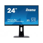 Iiyama XUB2492HSU-B1 LED-monitor 60.5 cm (23.8 inch) Energielabel A 1920 x 1080 pix Full HD 4 ms HDMI, DisplayPort, VGA, USB 2.0, Hoofdtelefoon (3.5 mm