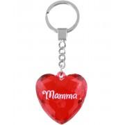 Mamma - Hjärtformad Röd Nyckelring