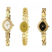 HWT Oval Dial Gold Metal Analog Watches Combo For Womens