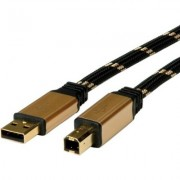 Cable USB2.0 A-B, 1.8m,Gold,Roline 11.02.8802