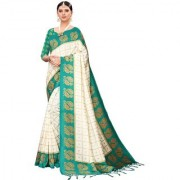 Indian Beauty Women's Green Color Mysore Silk Printed Saree Border Tassels With Blouse Piece(WEDDING-BATAK-GREEN_Free Size)
