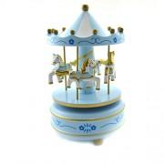 Cutiuta muzicala - carusel albastru cu 4 cai