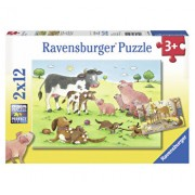 Puzzle Familii fericite de animale, 2x12 piese